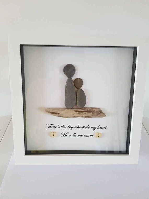Handmade Pebble Art Picture Mother And Son Pebble Art Pinterest