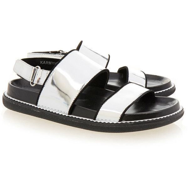 ab531c75c Senso Karmyn I Metallic Silver Leather Flat Sandal ( 105) ❤ liked on  Polyvore featuring shoes
