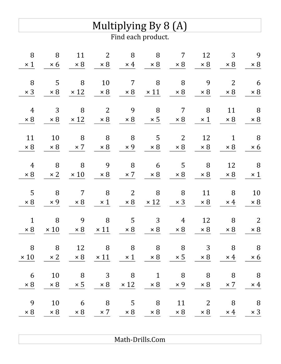 The Multiplying 1 To 12 By 8 A Math Worksheet From The Multiplicatio Printable Multiplication Worksheets Multiplication Facts Worksheets Math Fact Worksheets