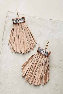 Fringe earrings. A blog about bohemian women's fashion, home decor, interior decorating, and the boho lifestyle at Anthropologie, Free People, Urban Outfitters