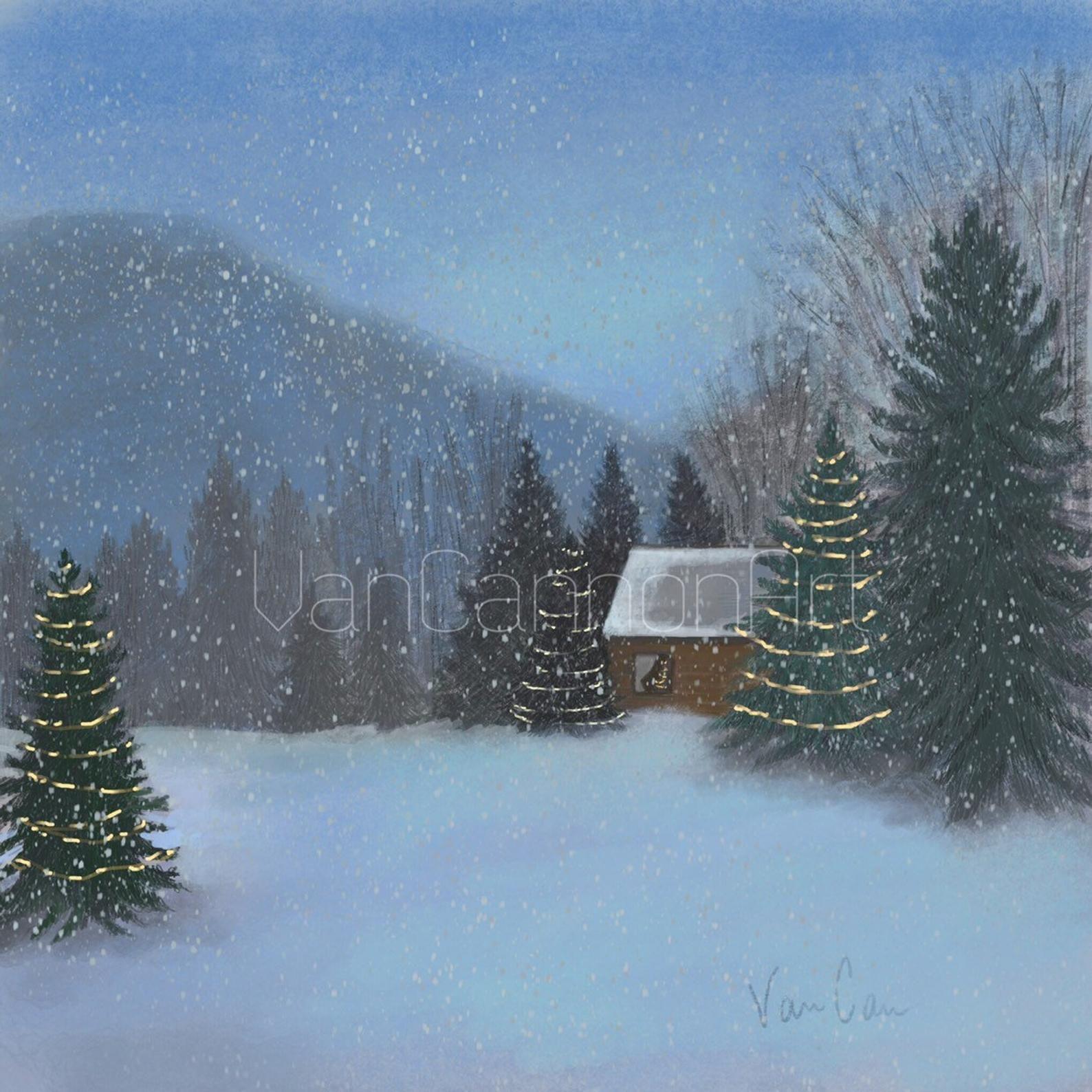 Cozy Winter Homedecor:  Cozy Christmas Mountain Wall Art Snowy Mountain Printable