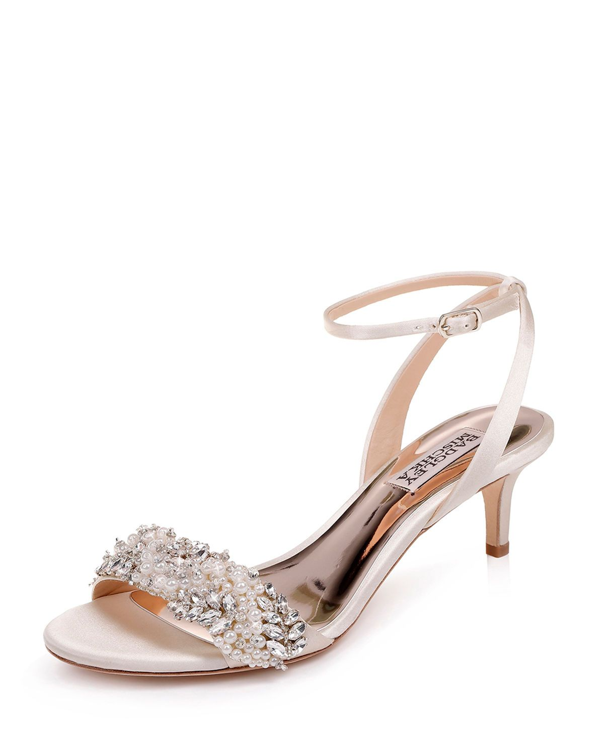 Badgley Mischka Fiona Embellished Satin Kitten Heel Sandals Bridal Shoes Low Heel Badgley Mischka Shoes Wedding Wedding Shoes Heels