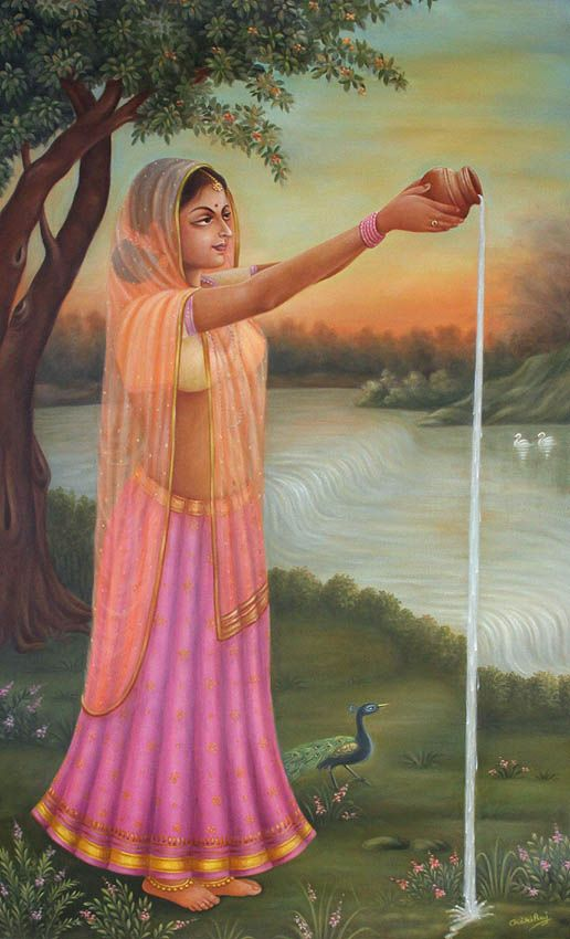 Water Offering To Lord Surya India Art Art Indian Paintings