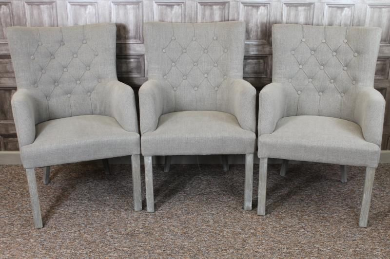 LARGE BUTTON BACK FRENCH STYLE ARMCHAIR DINING CHAIR IN STONE LINEN ST. MALO