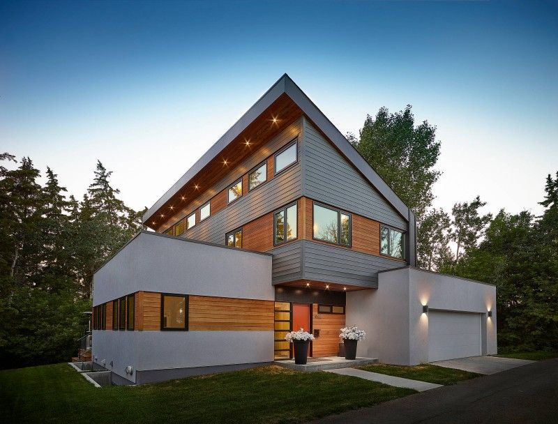 Gray Stucco Boxed House Flat Roof White House White Garage