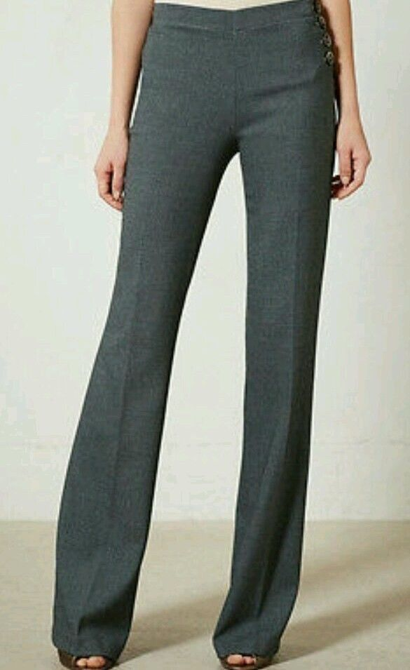 NWT Anthropologie Elevenses Birdseye Brighton Wide Leg Trouser Pant Moss Green 6 #Elevenses #DressPants