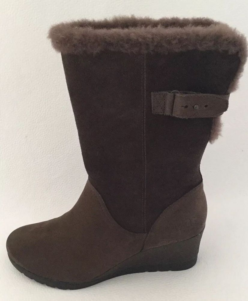 0b72fdc25600 UGG Australia EDELINA Waterproof Leather Suede Wedge Heel Boots US8   1017422 GRZ  fashion  clothing  shoes  accessories  womensshoes  boots  (ebay link)
