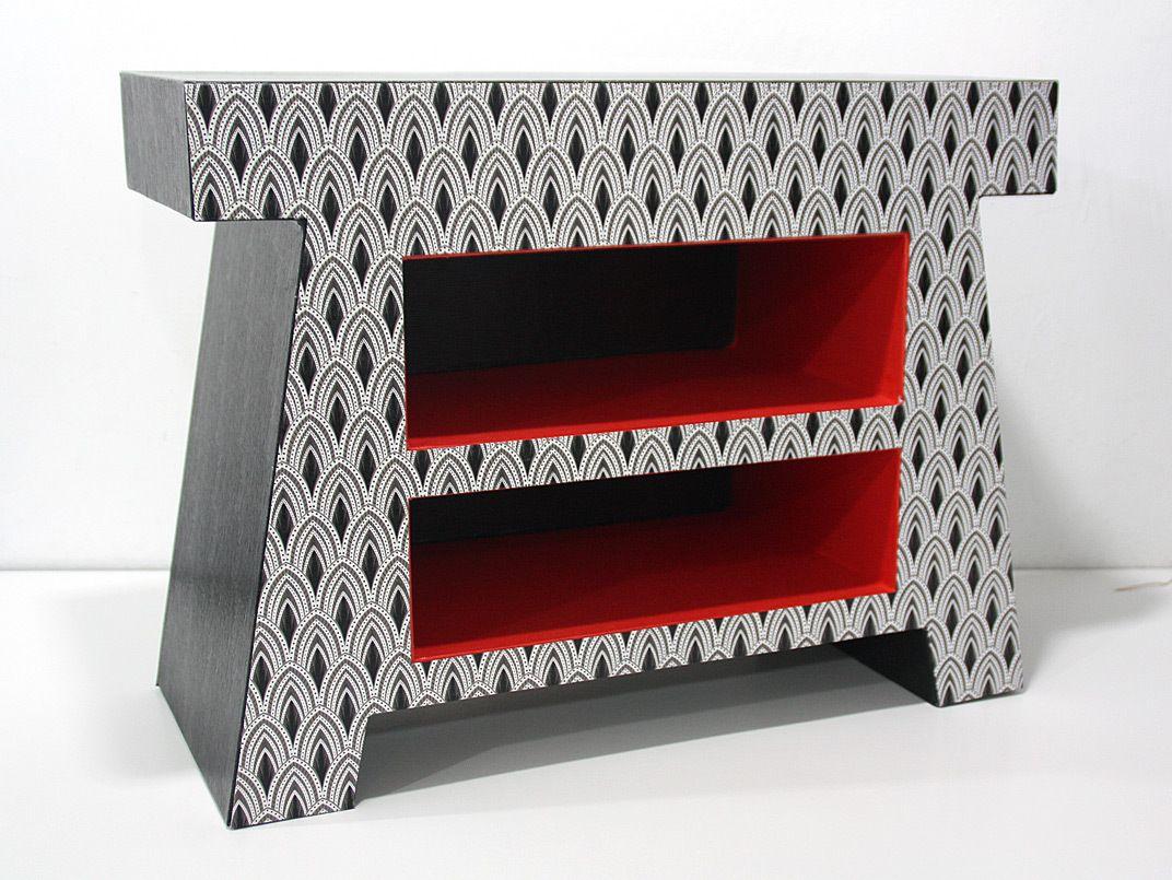 Table de nuit en carton gainée de simili cuir, d\'efalin et de ...