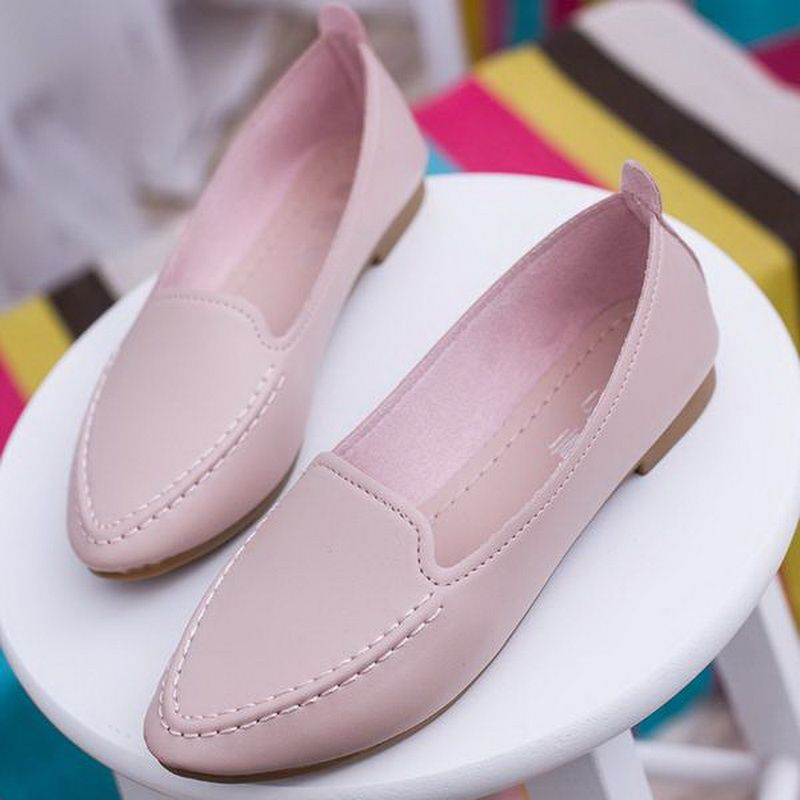 d04a1148c14 Click to Buy    Women Flats 2016 Summer Style Casual Solid Pointed Toe Slip-On  Flat Shoes Soft Comfortable Women Shoes Plus Size 35-40  Affiliate