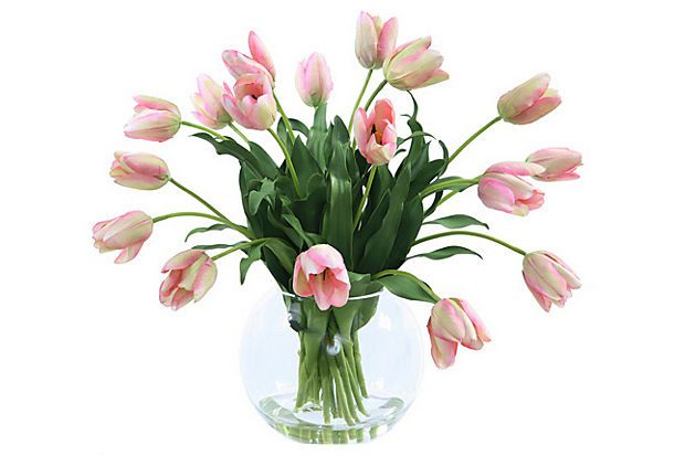 """23"""" Tulips in Glass Vase, Faux on OneKingsLane.com"""