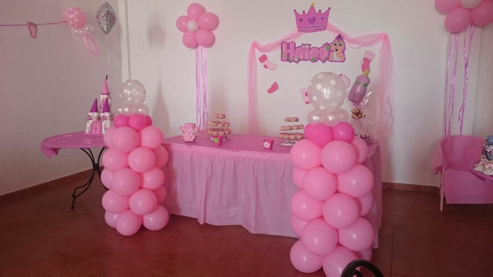 Babyshower Globos Torres Tul Flores Teteros Rosa Girl
