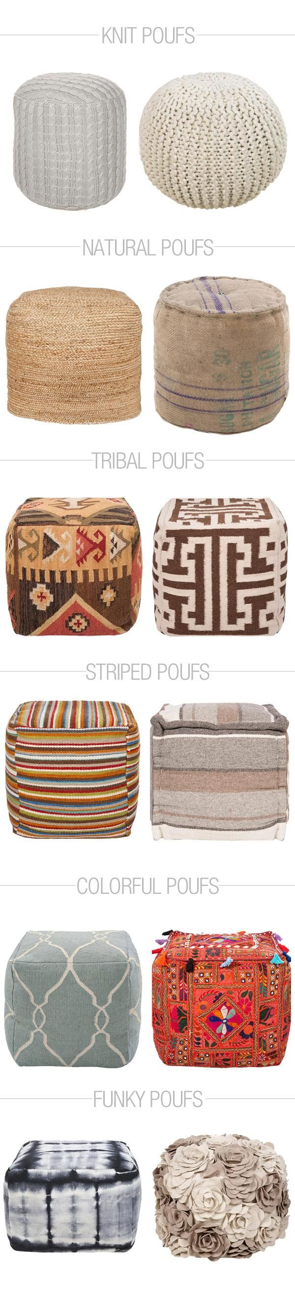12 Pouf Ottomans for Every Style - 12 Pouf Ottomans For Every Style Pouf Ottoman, Ottomans And