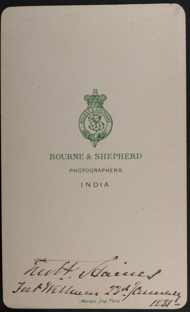 Reverse Of Carte De Visite By Bourne Shepherd India Dates 23 January 1881