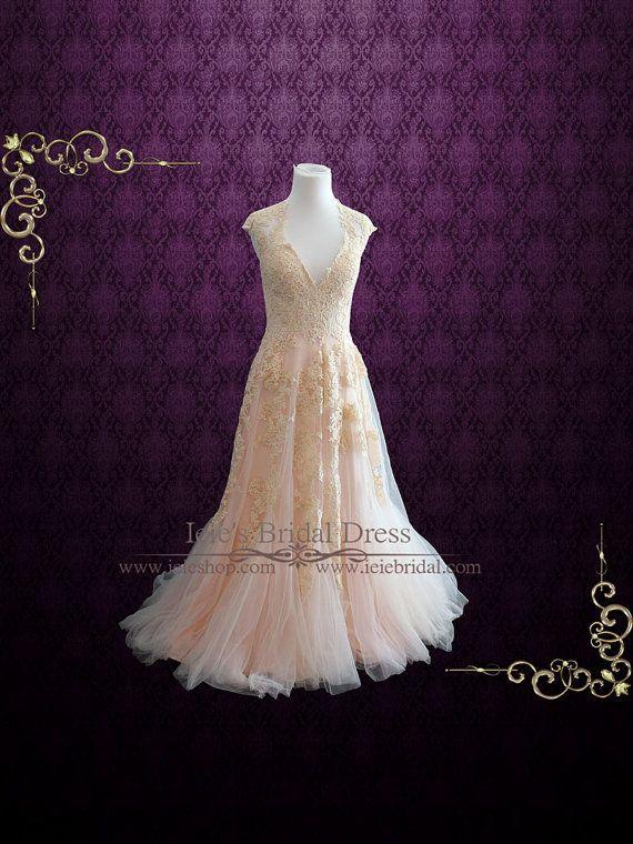 Blush Pink Wedding Dress Plunging Neckline Lace Wedding Dress Beach Wedding Dress Boho Wedding Dress Unique Wedding Dress Kori Wedding Dresses Blush Pink Wedding Dress Modest Wedding Dresses,Princess Peach Wedding Dress Cosplay
