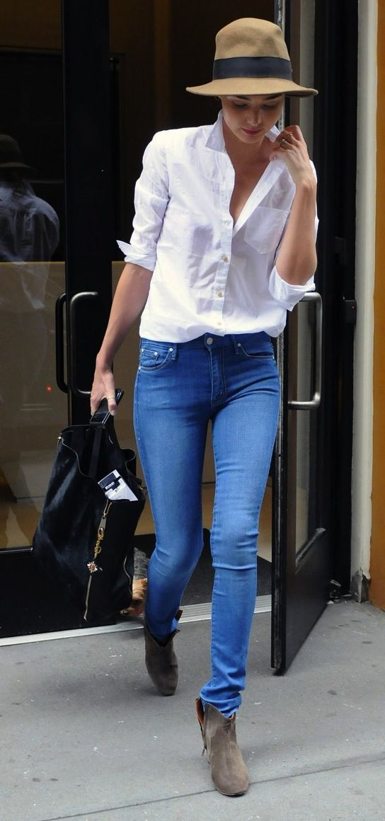 Classic White Button Down Jeans Wear Weekend Pinterest Classic White Ankle Boots And