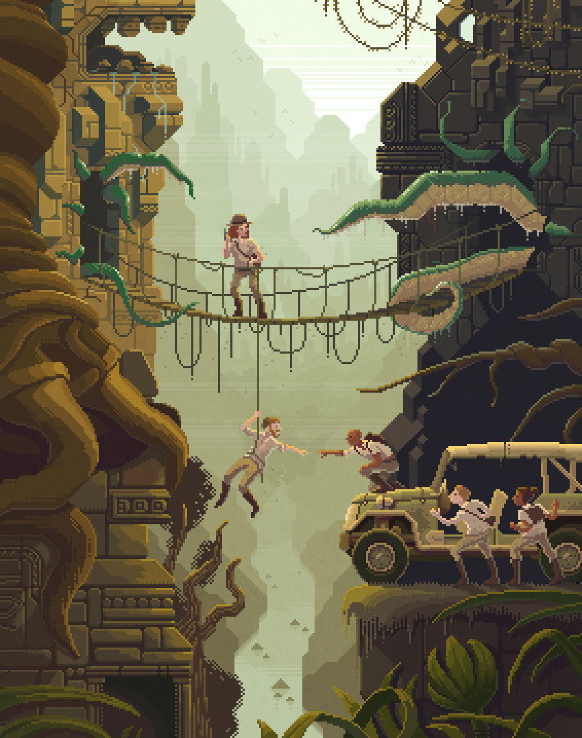 Scene #29: 'The Stolen Idol' Pixel Art illustrations by Octavi Navarro. 2014-2016. www.pixelshuh.com