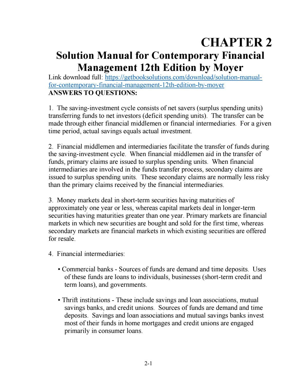 Solution manual for contemporary financial management 12th edition by moyer