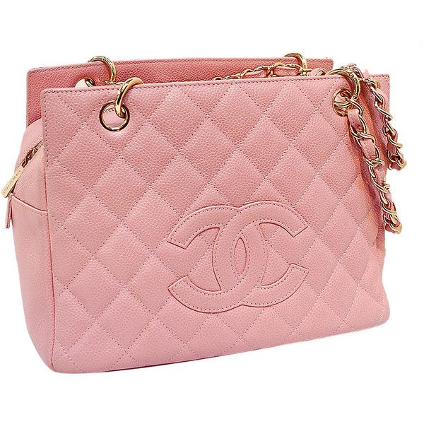 Chanel Pink Quilted Caviar Leather Pee Timeless Tote Ptt Bag Liked On Polyvore