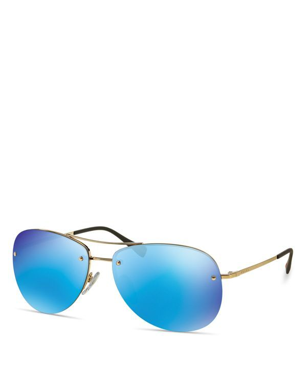 2da4bfa0a Prada Mirrored Rimless Aviator Sunglasses | Stuff to buy | Mirrored ...