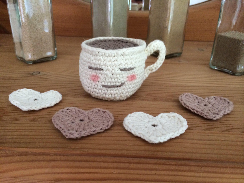 Häkeln: Heiße Tasse als Schlüsselanhänger Crochet: cup of tea ...