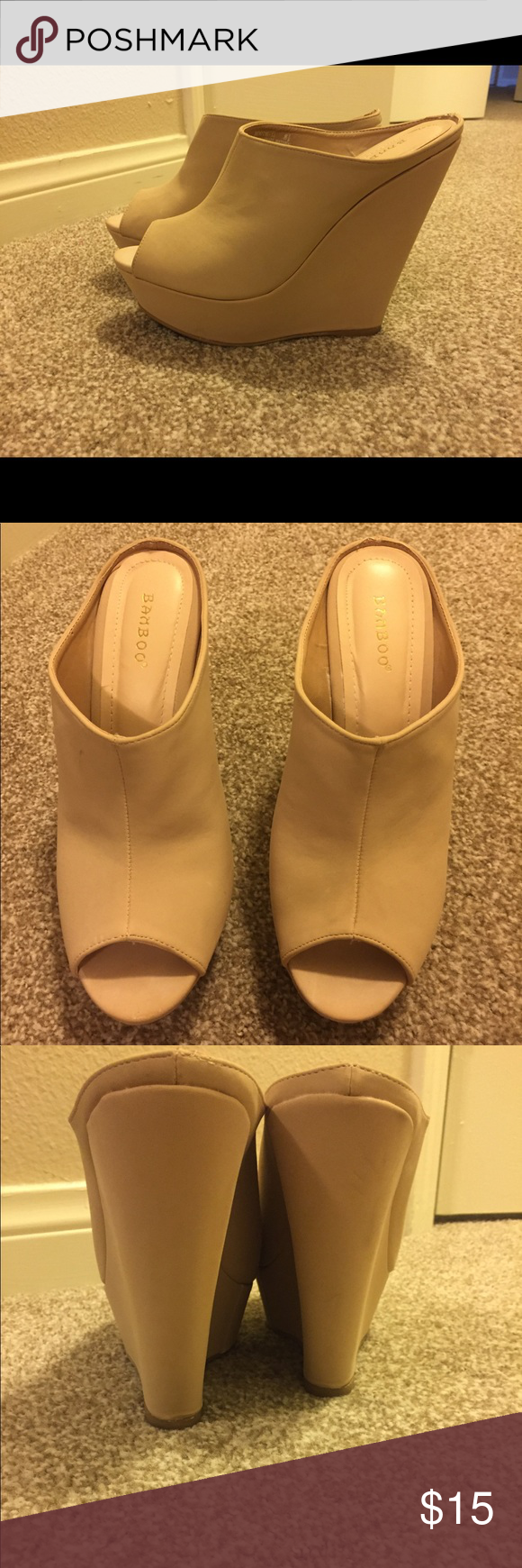 Wedge shoes Worn once. Easy to walk in! BAMBOO Shoes Wedges