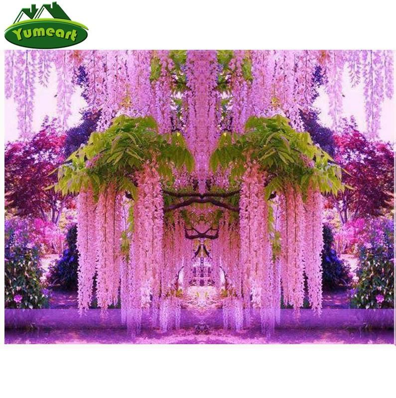 5d Diy Diamond Painting Pink Wisteria Blossoms Square Drill 8 Kit Sizes To Pick From Wisteria Garden Beautiful Gardens Gardens Of The World