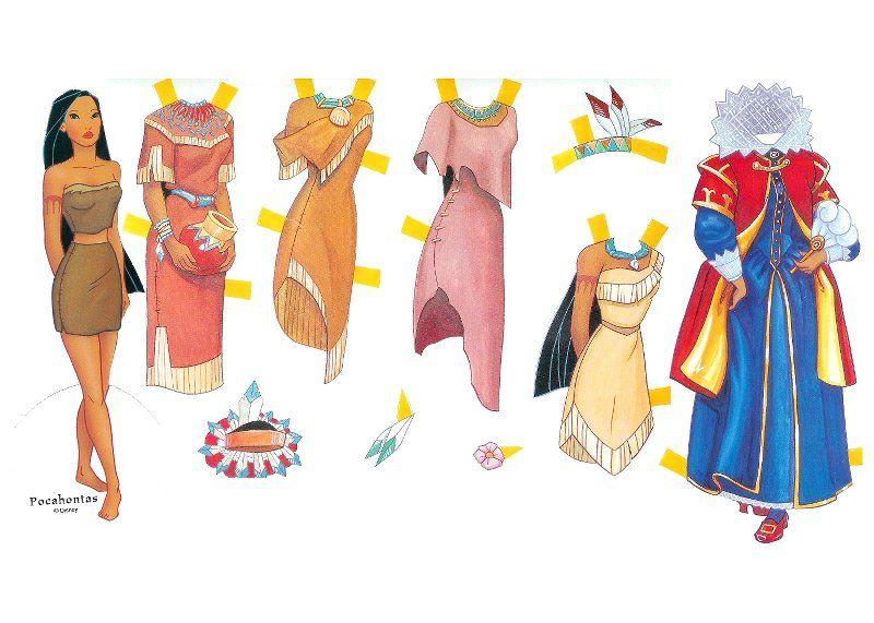 Pocahontas De Papel Para Imprimir Recortar E Montar Brinquedos De Papel Com Imagens Vestidos De Boneca De Papel Princesas Disney Bonecas De Papel Vintage