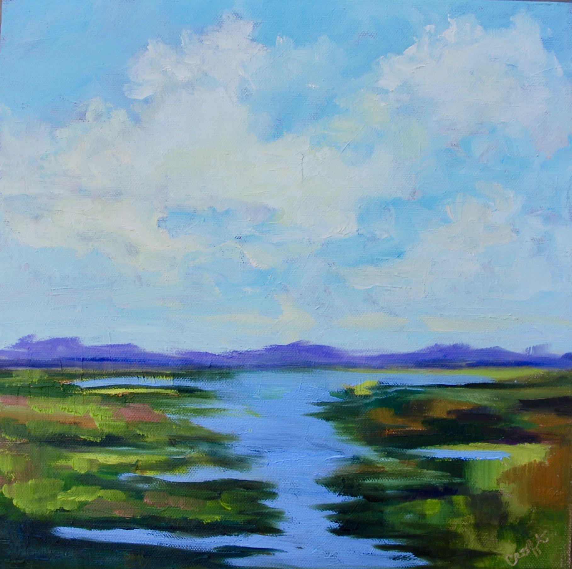 12 X 12 Textured Modern Impressionist Original Oil Marsh