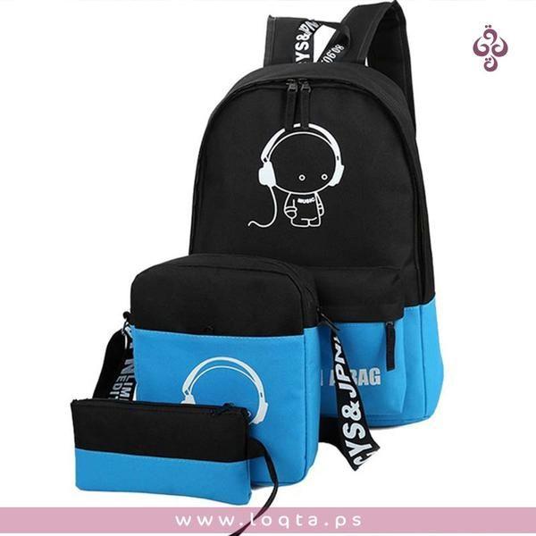 طقم حقيبة ظهر مع محفظة كروس وحافظة أقلام مع رسومات تضيء في الظلام Loqta Ps Shoulder Bag Fashion Womens Backpack Bags