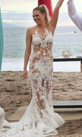 3aca5c1a4a Beach bride. Pronovias Carolina wedding dress currently for sale at 0% off  retail.