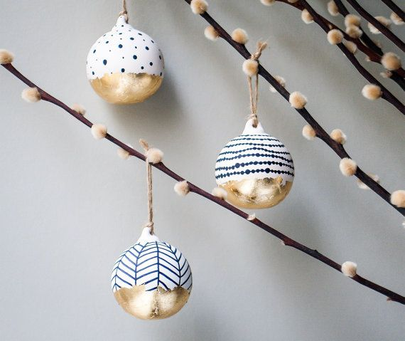 Set of 4 black and white baubles, Scandi Christmas decorations