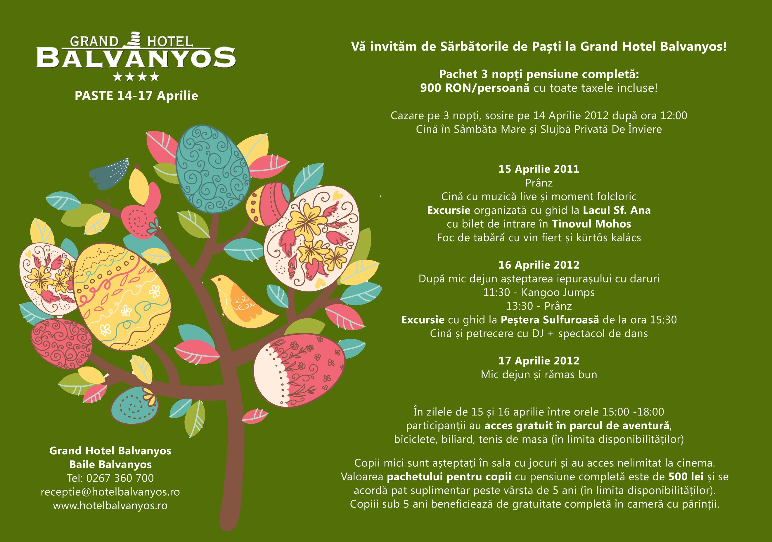Oferta Paste la Grand Hotel Balvanyos