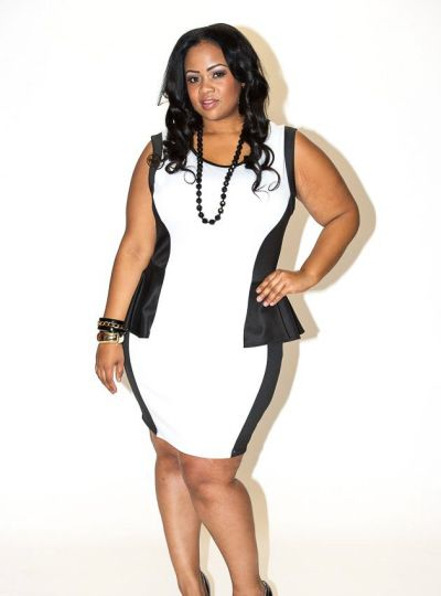 New Plus Size Black and Red Peplum Sleeveless Dress 1x 2x 3x available at www.chicandcurvy.com