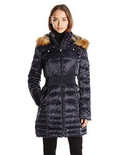 Laundry Womens Classic Cinch Waist Down Coat With Faux Fur Hood