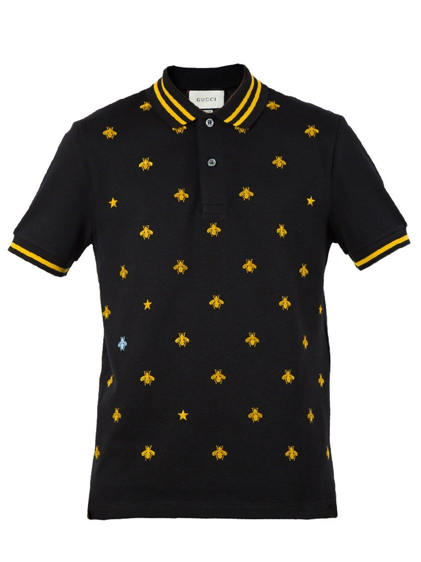 c8fa89920da GUCCI Cotton Polo With Bees And Stars - Black Stretch Cotton Piquet ...