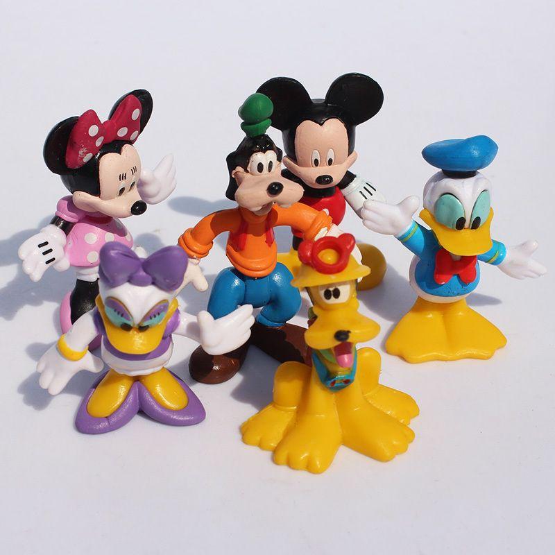Mickey figures Minnie figuur Mouse Donald Duck Cartoon childre speelgoed 6 stks/partij goofy hond pluto hond daisy Gratis Verzending