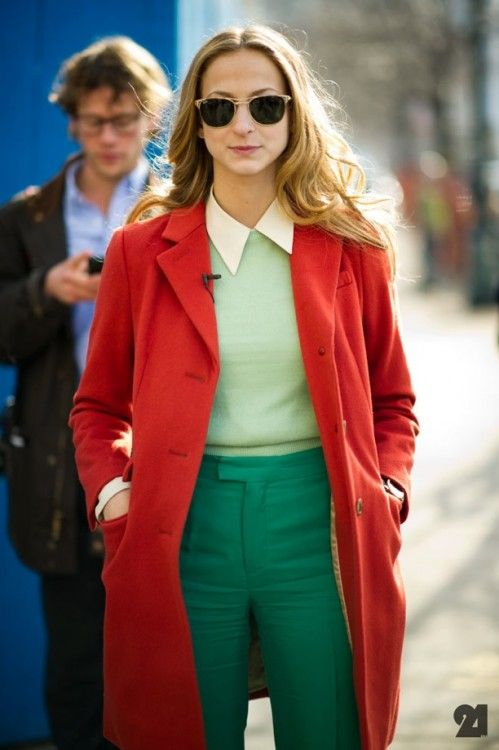 This trend doesnt always have to be flashy or neon. This woman adds some flair with retro shades and a white collar.