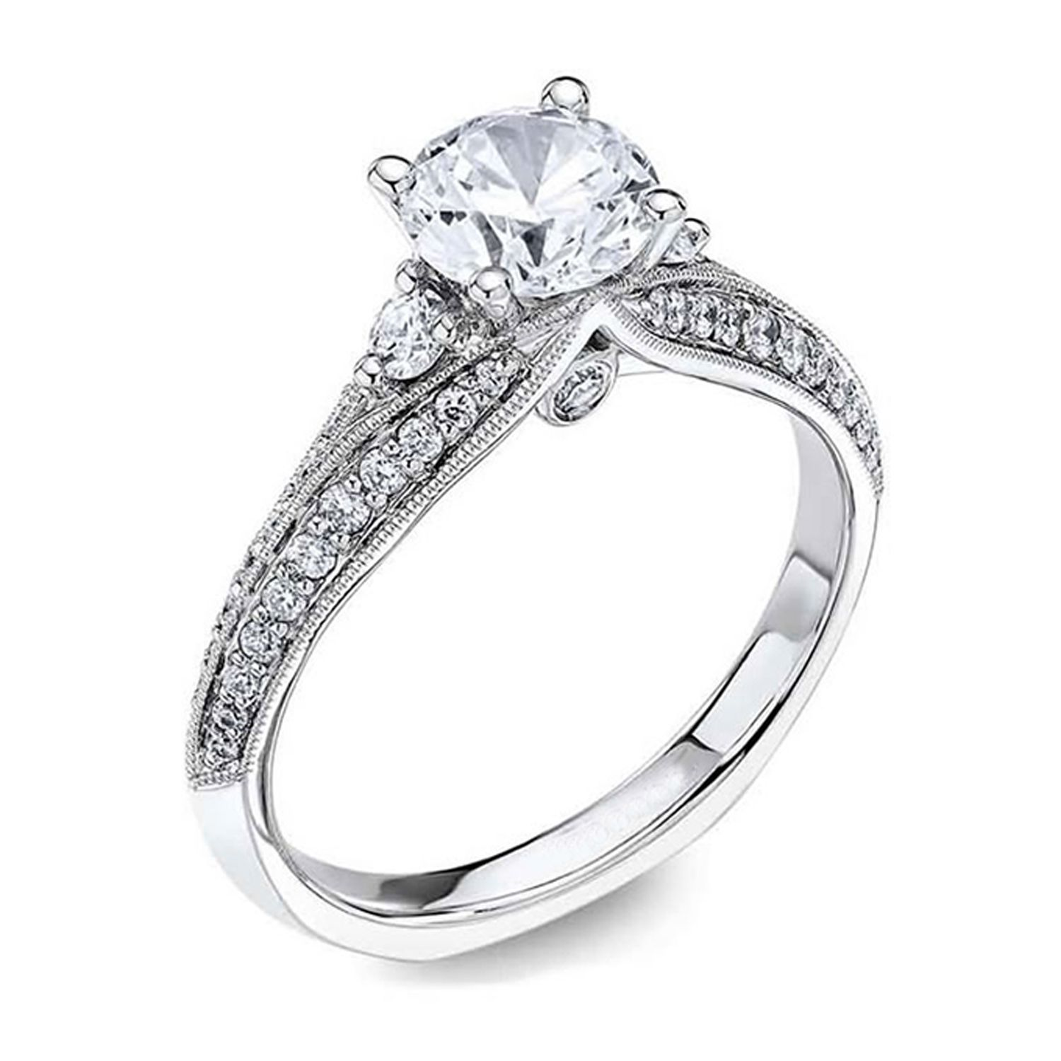 2 00 Simulated Diamond 10k White Gold Vintage Engagement Ring