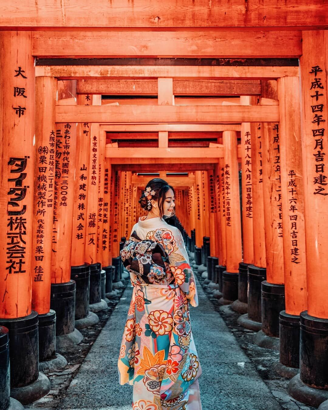 In Kyoto, you can walk under thousands of orange torii gates that lead up a hill to one of Japan's most popular shrines dedicated to the god of rice and sake.