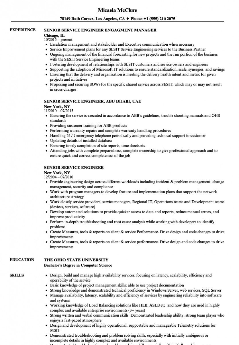 10 ups service engineer resume marketing