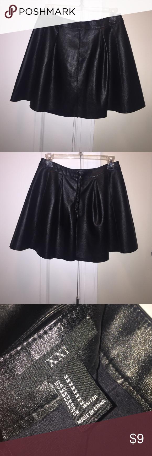 Forever21 - Faux Leather Skater Skirt, Size Medium Like New, perfect condition skater skirt! Zipper back. A definite MUST HAVE for Fall/Winter! Forever 21 Skirts Circle & Skater