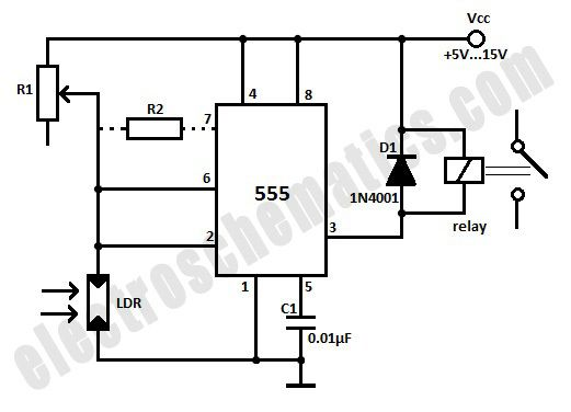 light activated relay with 555 circuit in 2020
