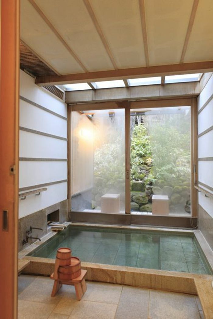Décoration japonais murs en verre salle de bain avec décoration japonais