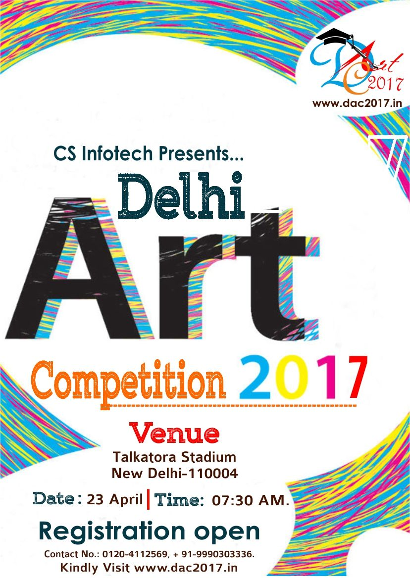 #DAC2017 #RegistrationsOpenDAC2017 #ArtCompetition2017 #CompetitionForKids Welcome to the biggest ever Art event in Delhi,DAC 2017, the event which is to vitalize the skill of artists all over India. Showcase your talent by entering this intoxicating art competition, brought to you by Cyber Security Infotech Pvt Ltd  To Register for DAC'17, kindly visit us at http://dac2017.in/