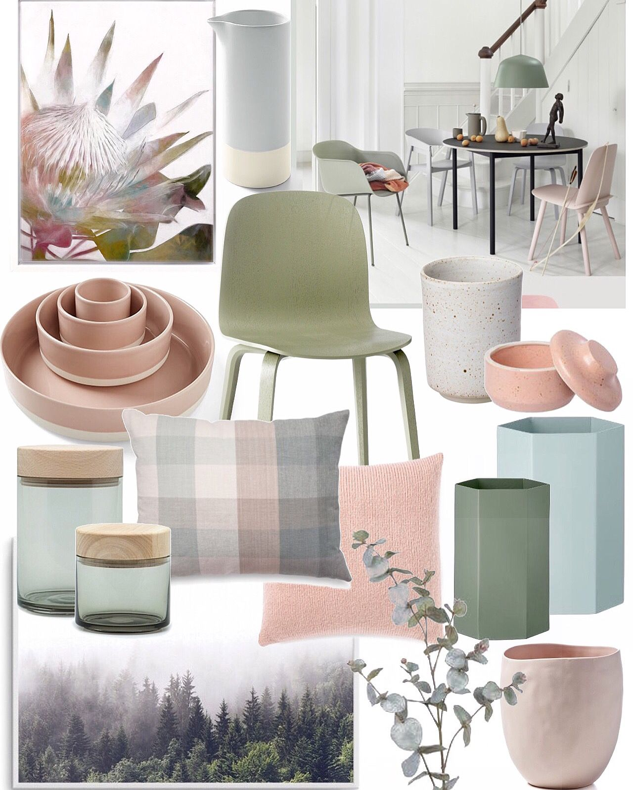 Blush Pink Soft Olive Green Ice Blue Mid Grey Heavenly