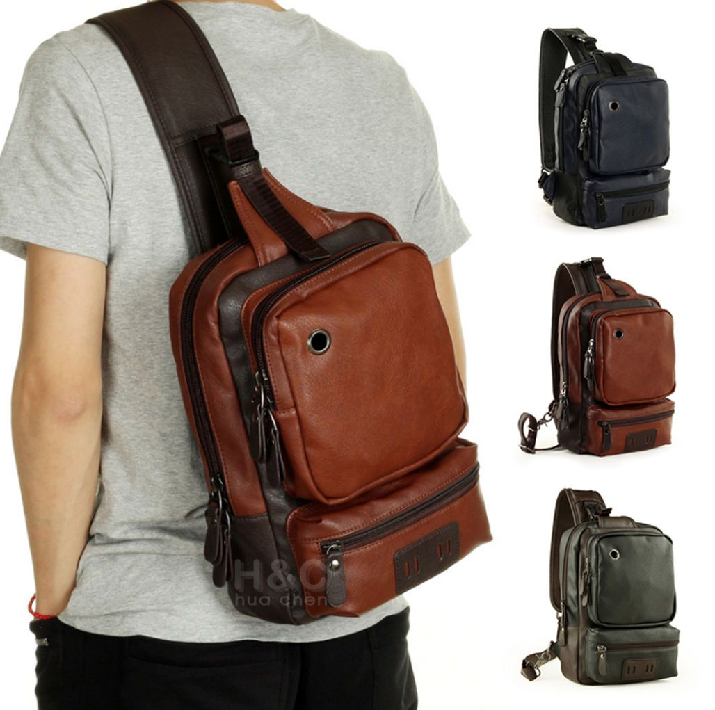Men S Tactical Sling Chest Shoulder Pu Leather Backpack Satchel Bag Day Packs Trendy Leather Bags Mens Leather Bag Shoulder Bag Men