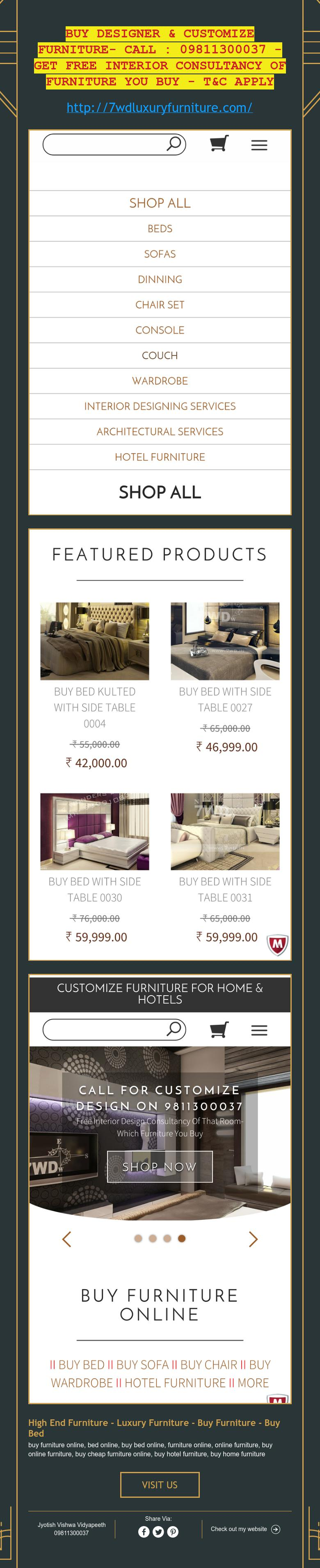 Buy designer  customize furniture interior consultancy of you   apply also sumit shah wondersdecor on pinterest rh