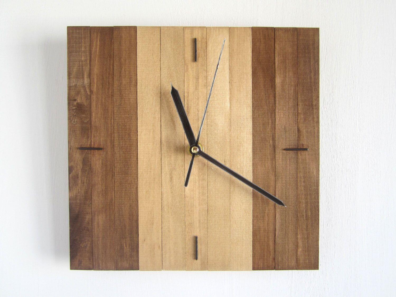 Wooden Square Clock, Oak Decor, Hanging Wall Clock, Wooden Gift ...