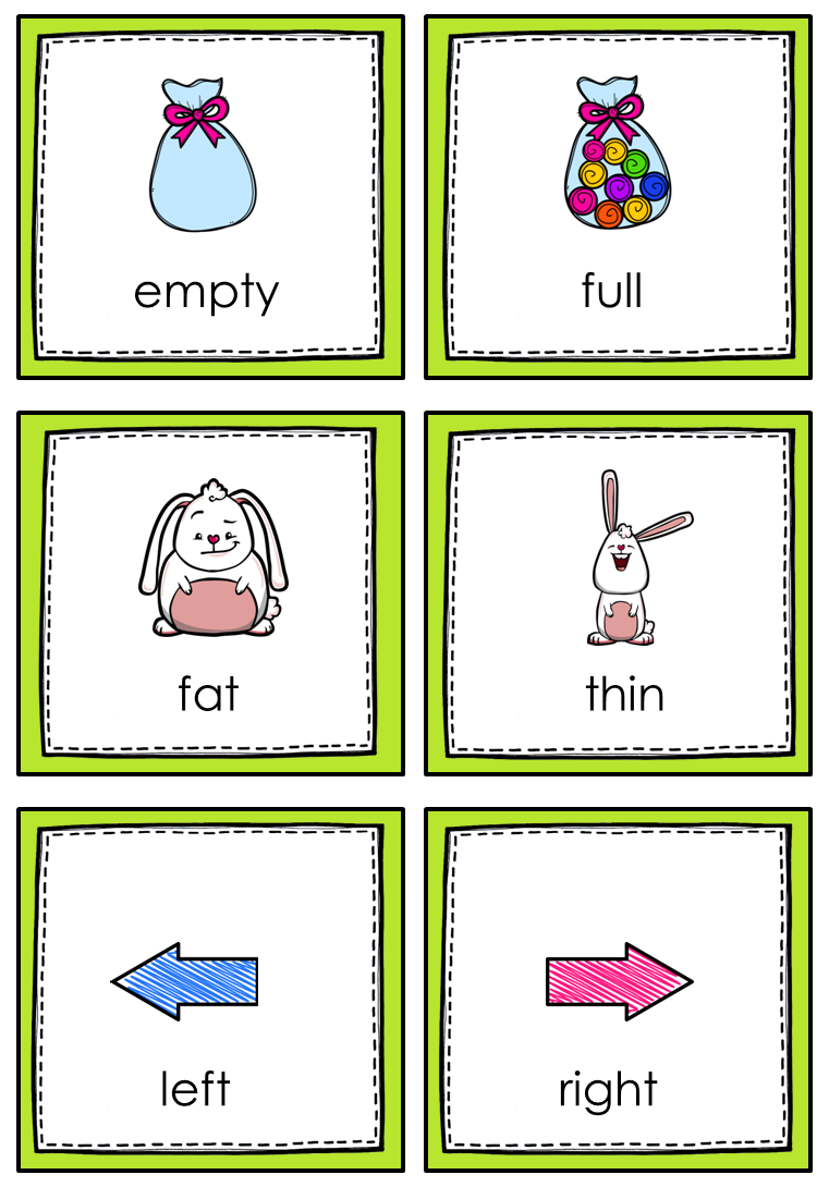 opposites memory game for young learners