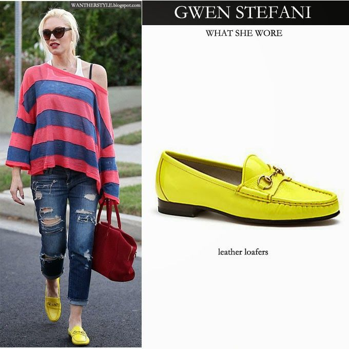 0b5e58d72888d WHAT SHE WORE  Gwen Stefani in bright yellow leather loafers in West ...